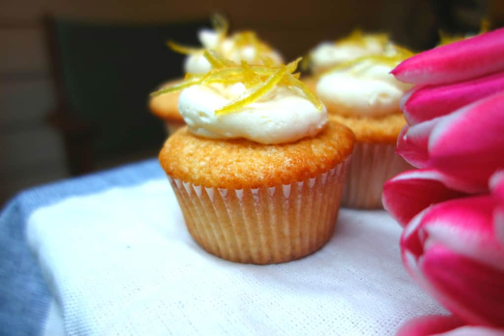 Lemon Cupcake with Tulips Close Right