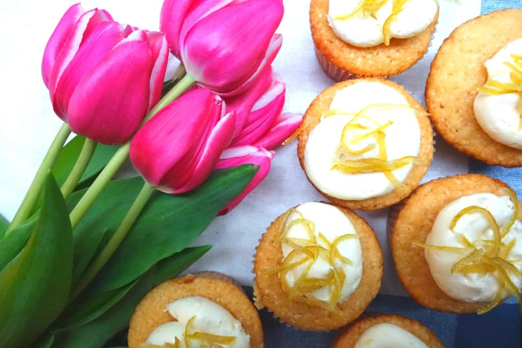 Lemon Cupcakes with Tulips and Towel