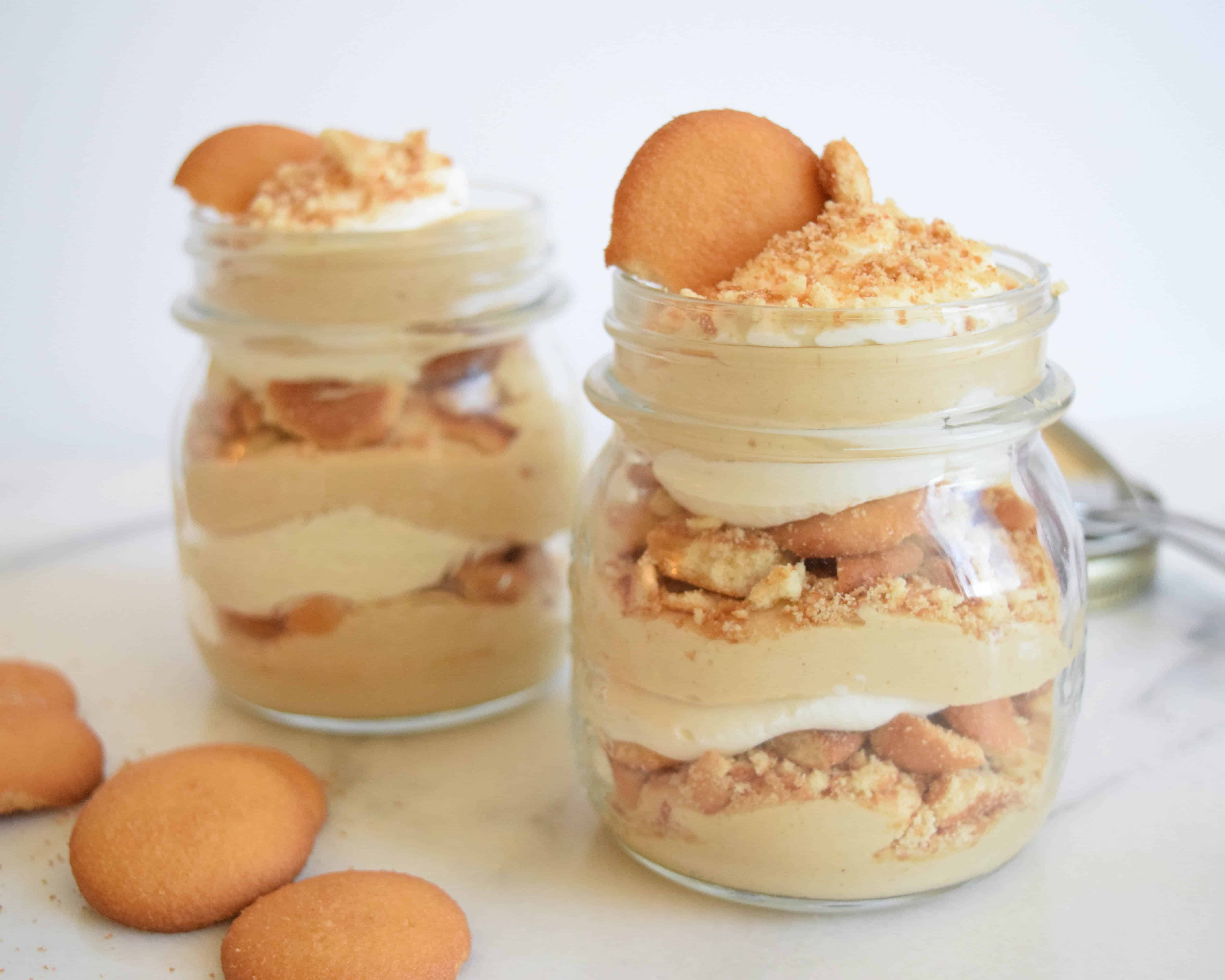 Mini Mason Jar Peanut Butter Cookie Parfaits - Female Foodie