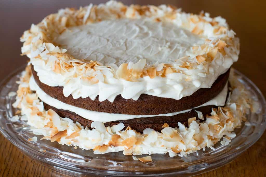 Crazy Chocolate Chip Cake with Coconut Cream Cheese Frosting