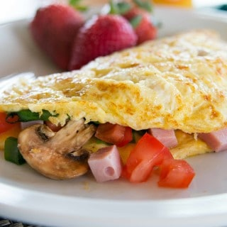 Ham, Cheddar, and Vegetable Breakfast Omelets