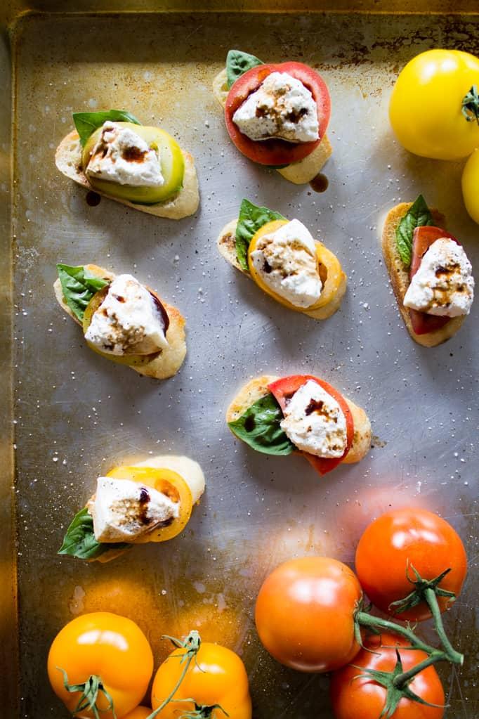 Caprese Crostini with Burrata