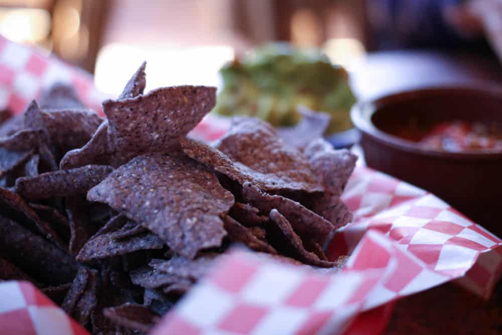 Blue corn chips at Oscar's Cafe near Zion National Park. Yum!