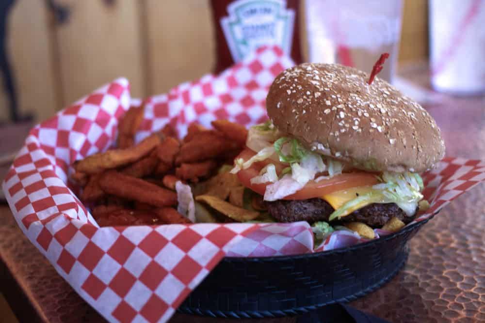 Murder burger & sweet potato fries at Oscar's Cafe near Zion National Park. Yum!