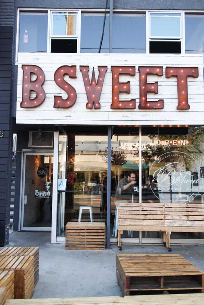 B Sweet Dessert Bar in Los Angeles, California. Bread pudding is one of the most popular and widely interpreted desserts around right now, and B Sweet Dessert Bar on Sawtelle in Los Angeles specializes in it.