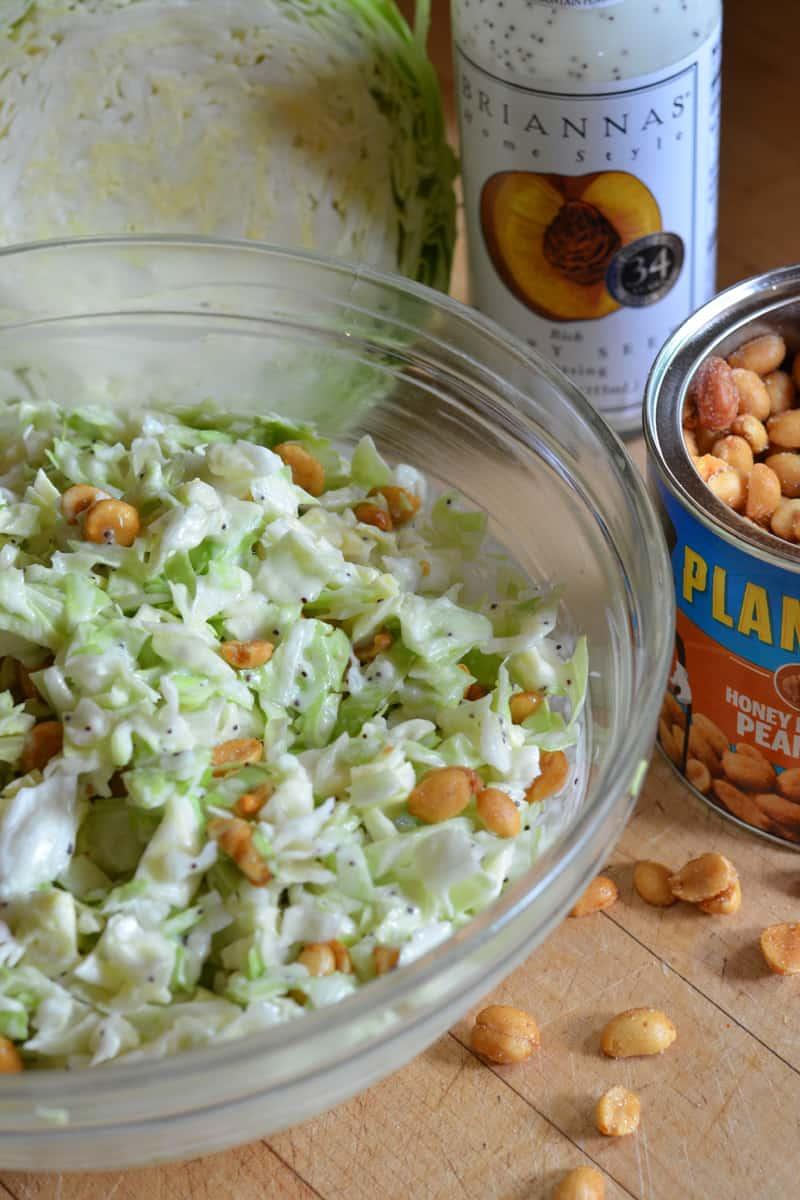 Three Ingredient Peanut Poppy Seed Coleslaw