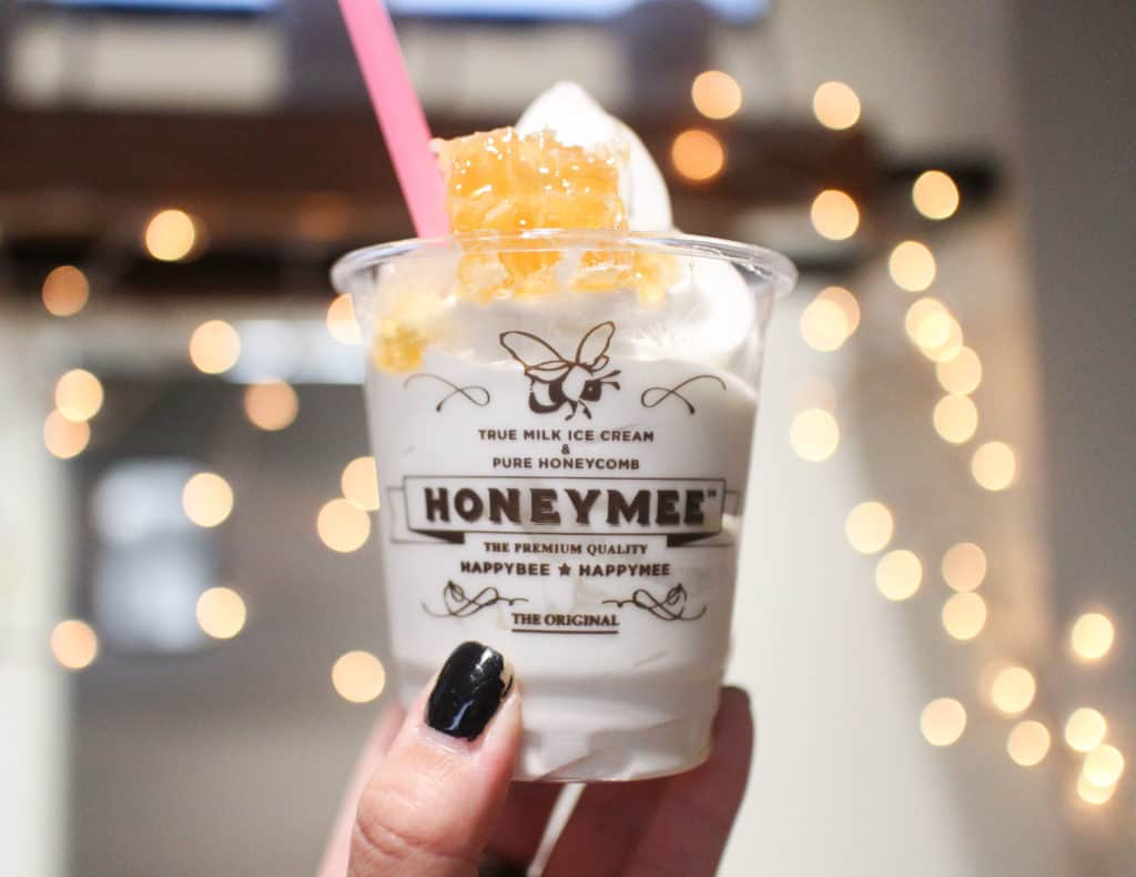 Honeymee in Los Angeles, California. Creamy soft serve ice cream made with California milk and all-natural, certified honey.