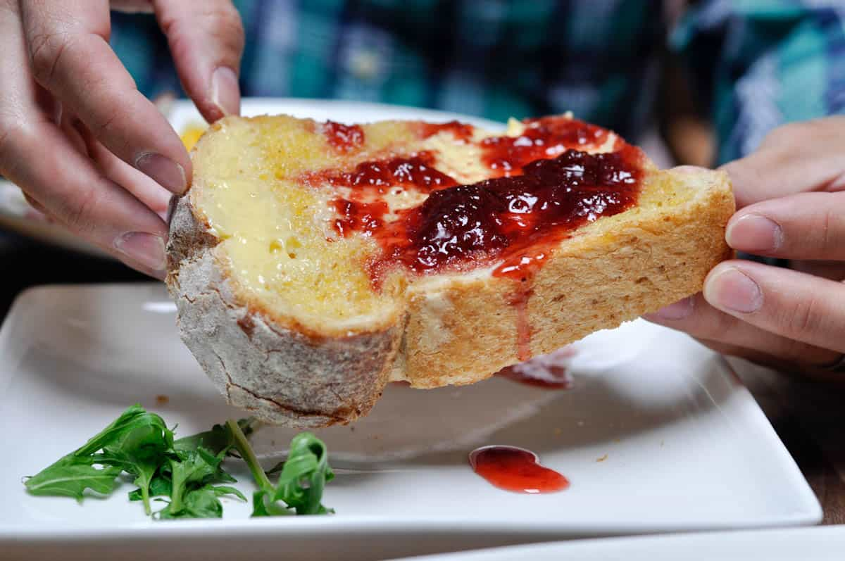 Slipstream in Washington DC has delicious pain levain recipe bread for all of their toasts - from avocado and goat cheese mousse to house-churned butter and housemade strawberry jam! San Francisco chef brings artisanal toast to DC.