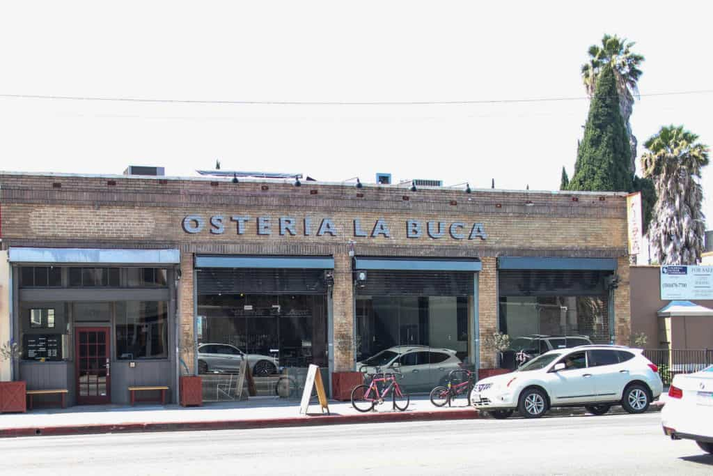 Osteria La Buca in Los Angeles, California! A trendy, country Italian restaurant right next to the famous Paramount Studios in Hollywood.