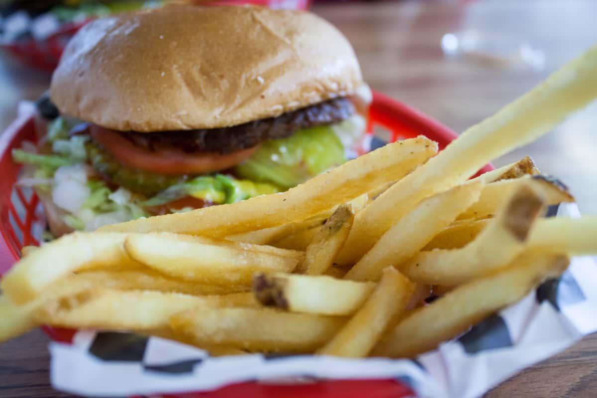 Classic hamburger at Slacker's Burger Joint near Capitol Reef National Park