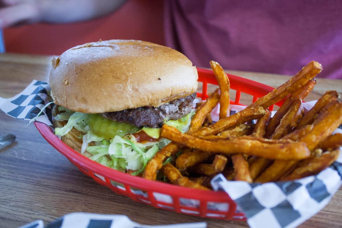 Bacon cheeseburger at Slacker's Burger Joint near Capitol Reef National Park