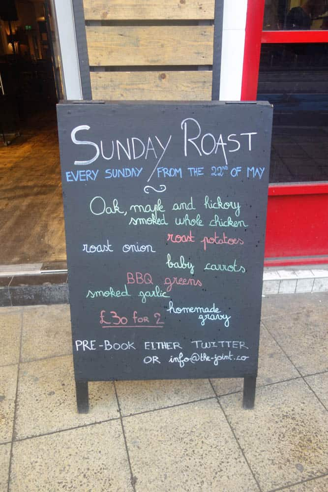 Sunday Roast Menu, The Joint