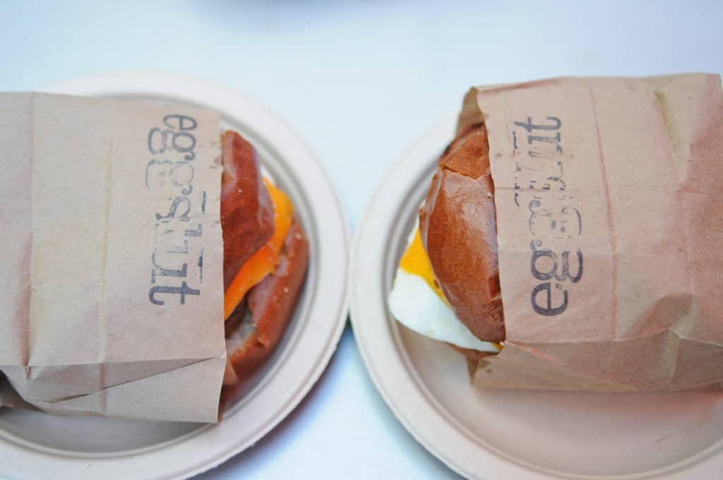 Eggslut in Los Angeles is home to the arguably perfect breakfast sandwich. The menu is simple, consisting of egg sandwiches, two specialties, two sides, and drinks. Read our full review at femalefoodie.com!