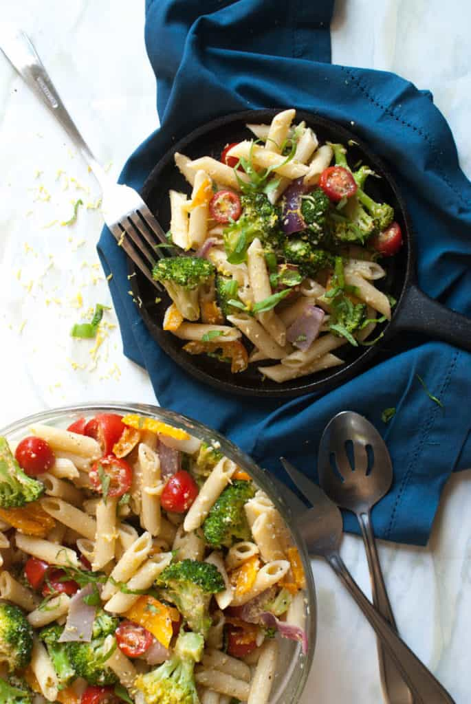 Colorful and lemony-fresh, Veggie Zing Pasta is sure to satisfy. Recipe on FemaleFoodie.com!