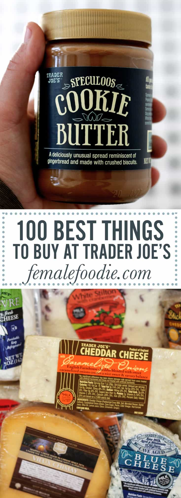 100 BEST THINGS TO BUY AT TRADER JOES! A full post top to bottom of our favorite things to throw in that grocery cart while you're perusing the isles at our favorite neighborhood grocery store. Full post at femalefoodie.com!