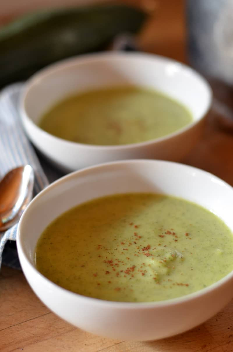 This creamy garden zucchini soup is the perfect dish for a hot summer meal.