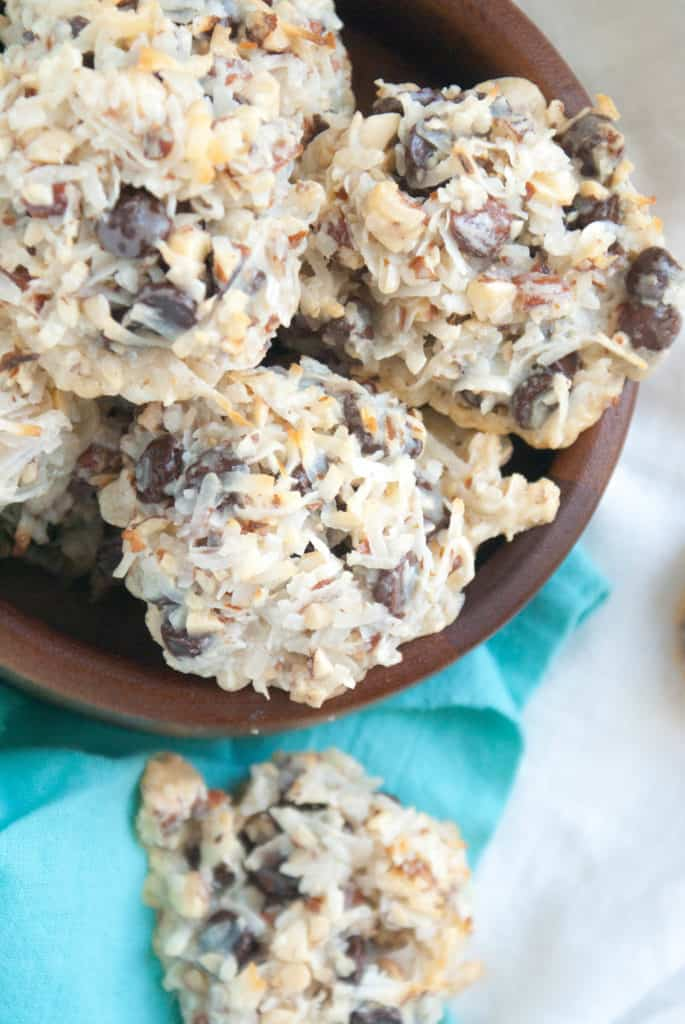 Four Ingredient Almond Joy Cookies! Easy, delicious, and an absolute crowd pleaser. Get the full recipe at femalefoodie.com.