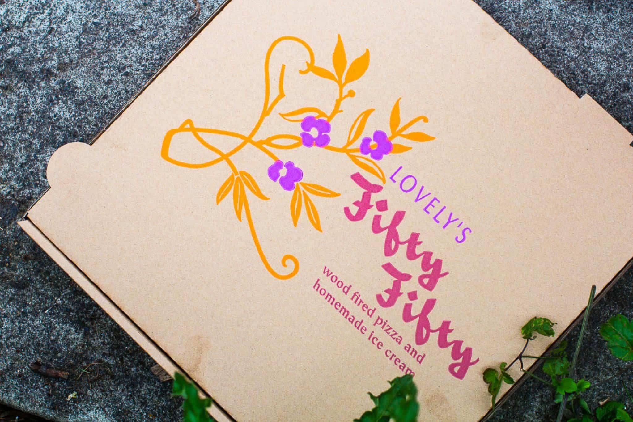 pizza box from lovely's fifty fifty in Portland