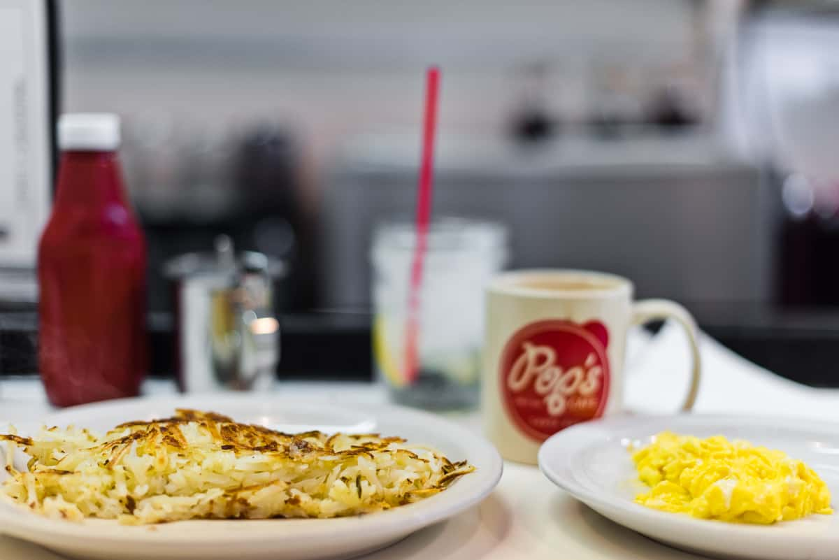 Top 8 spots for the best breakfast & brunch in Orange County. Pop's Cafe in Downtown Santa Ana is a 50's diner with friendly service and huge and hearty breakfast portions. Full post at femalefoodie.com.