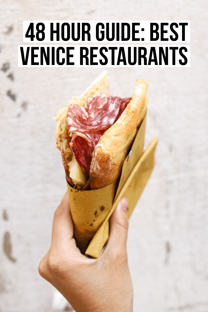 A 48-hour dining guide to Venice, Italy with the best Venice restaurants including pasta, sandwiches, seafood, and gelato!