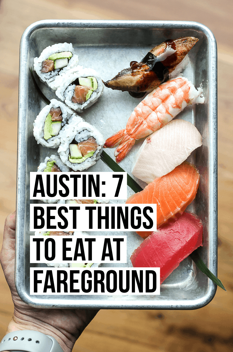 The ultimate guide to dining at Austin's new and incredible food hall, Fareground. Read our full post to see menu recommendations from every vendor to Fareground Austin at femalefoodie.com!