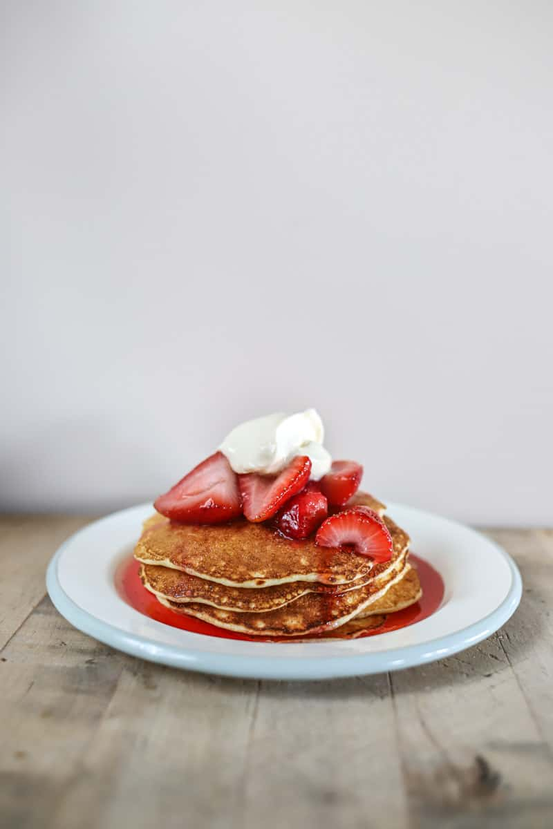 Cottage Cheese Pancakes with Crème Fraîche & Strawberries