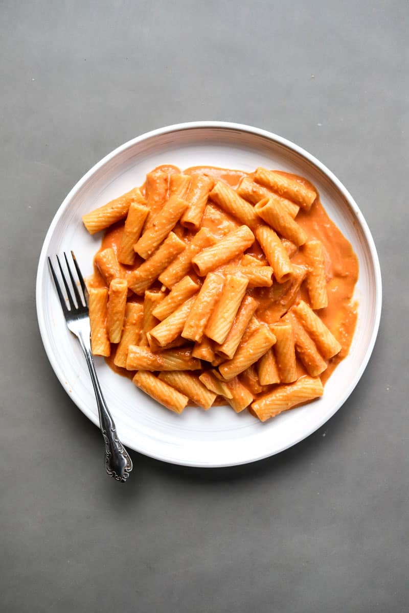 Pink Sauce Pasta with rigatoni on plate
