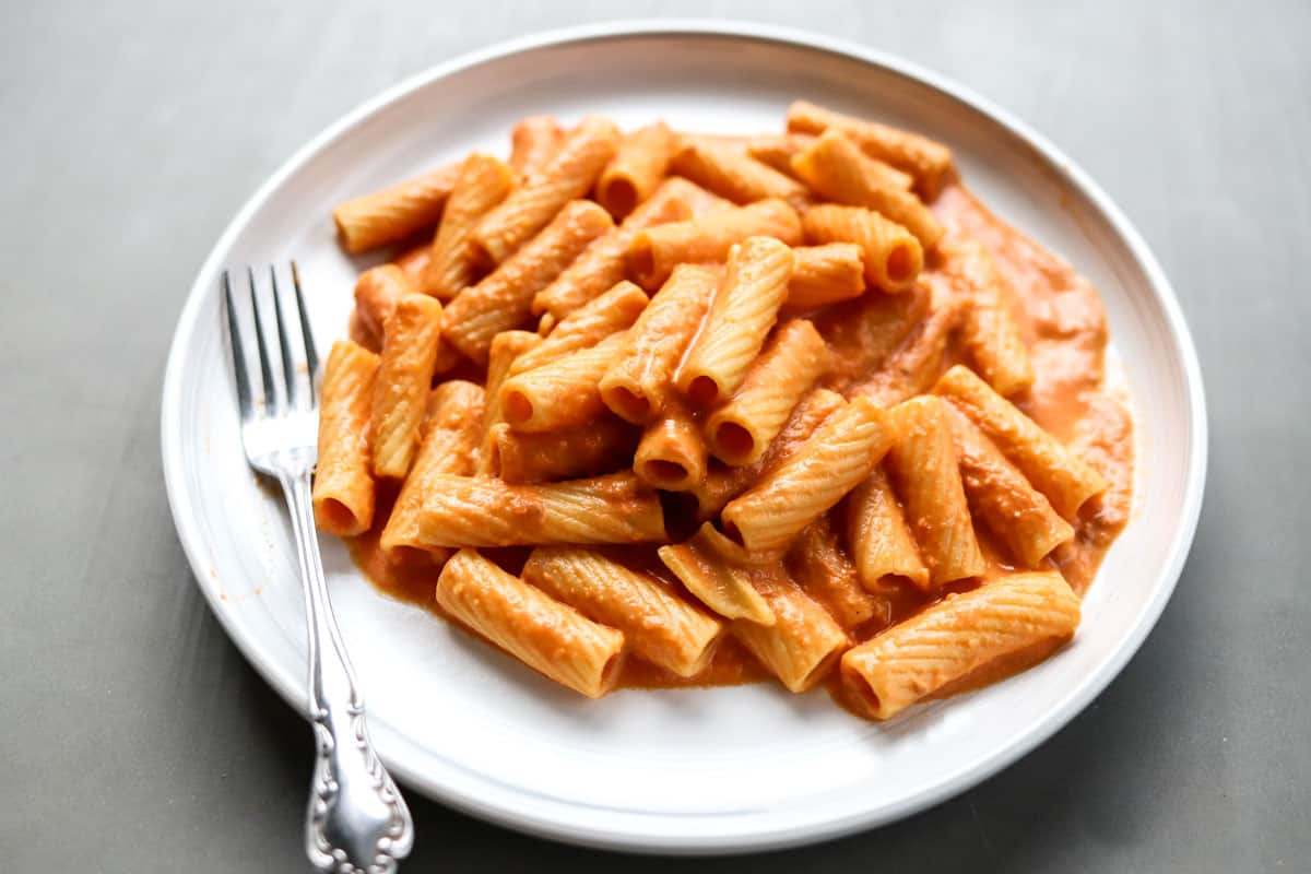 Pink Sauce Pasta on plate with rigatoni