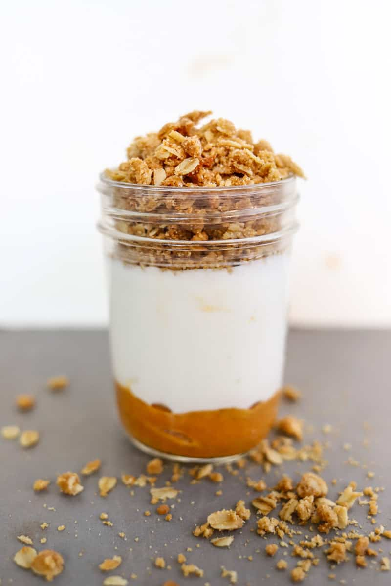 This layered Ellenos Pumpkin Pie Yogurt copycat recipe is easy, perfect for fall, and absolutely delicious!