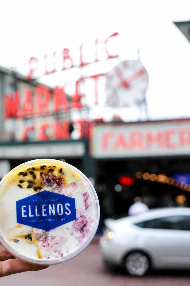 Ellenos greek yogurt in front of Pike Place Market