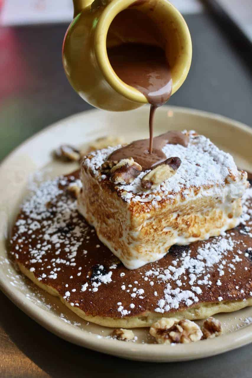 Nana's Hot Cocoa pancake with Mexican hot chocolate sauce from Snooze in Austin, Texas