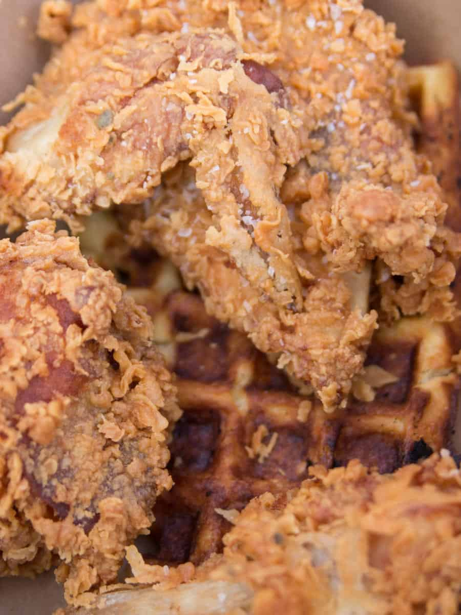 chicken and waffles from Luella's Southern Kitchen