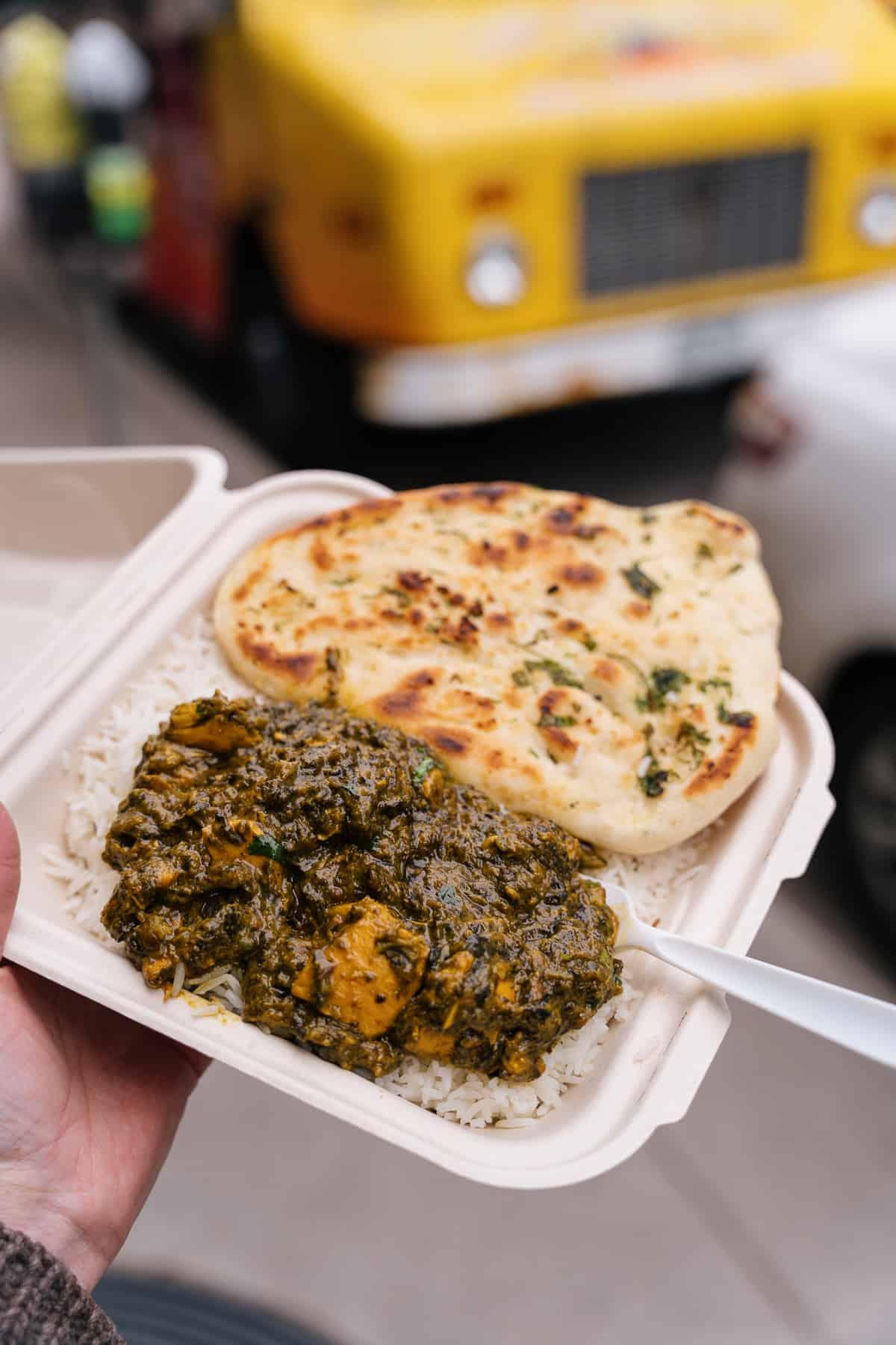 Saag Paneer and Garlic Naan from Taj Palace Food Truck