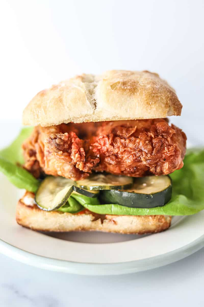 Picture of homemade fried chicken sandwich