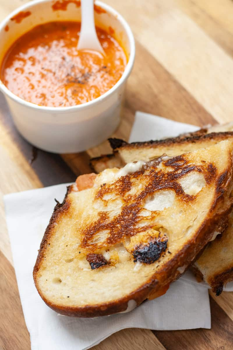 grilled cheese and soup from Hank's