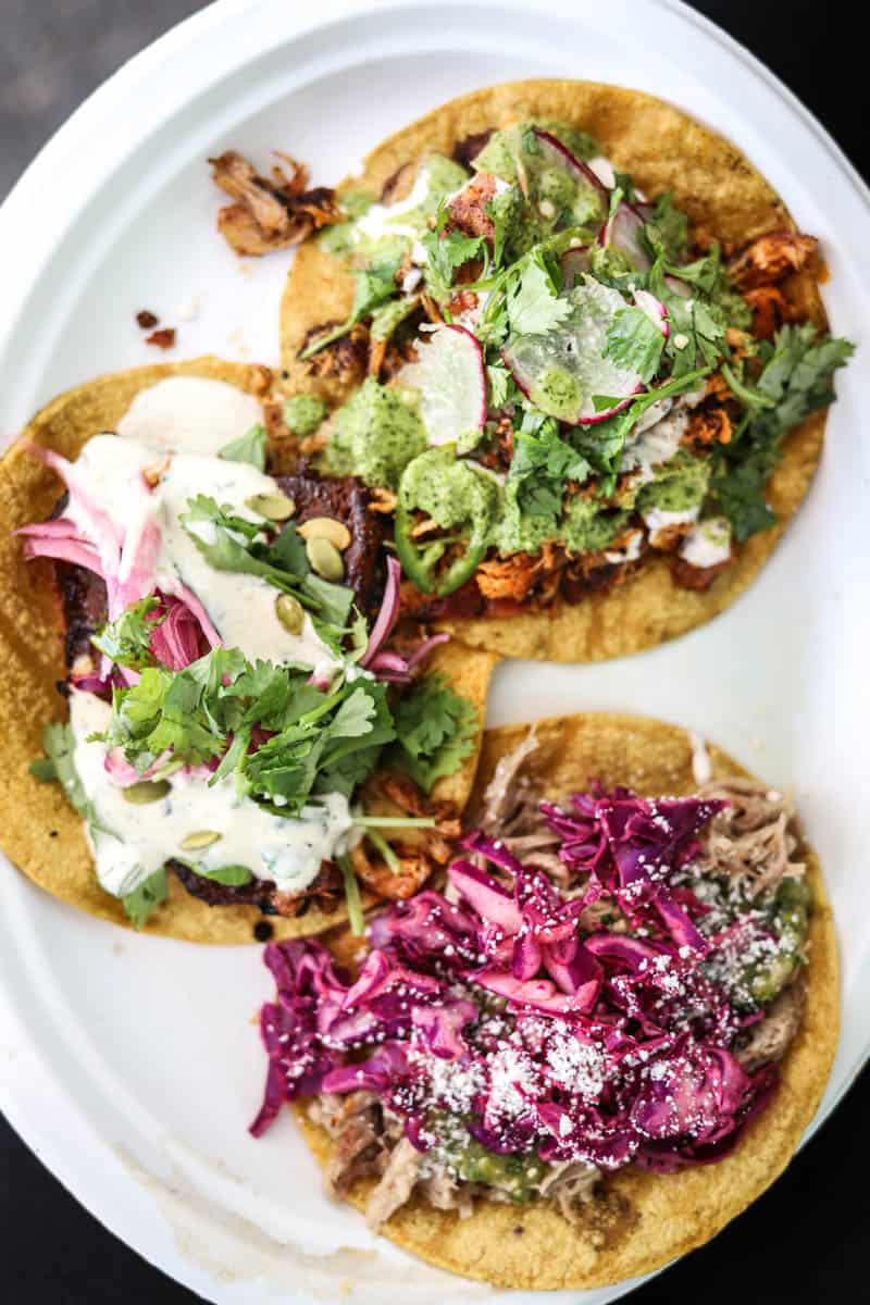 three tacos from facil taqueria