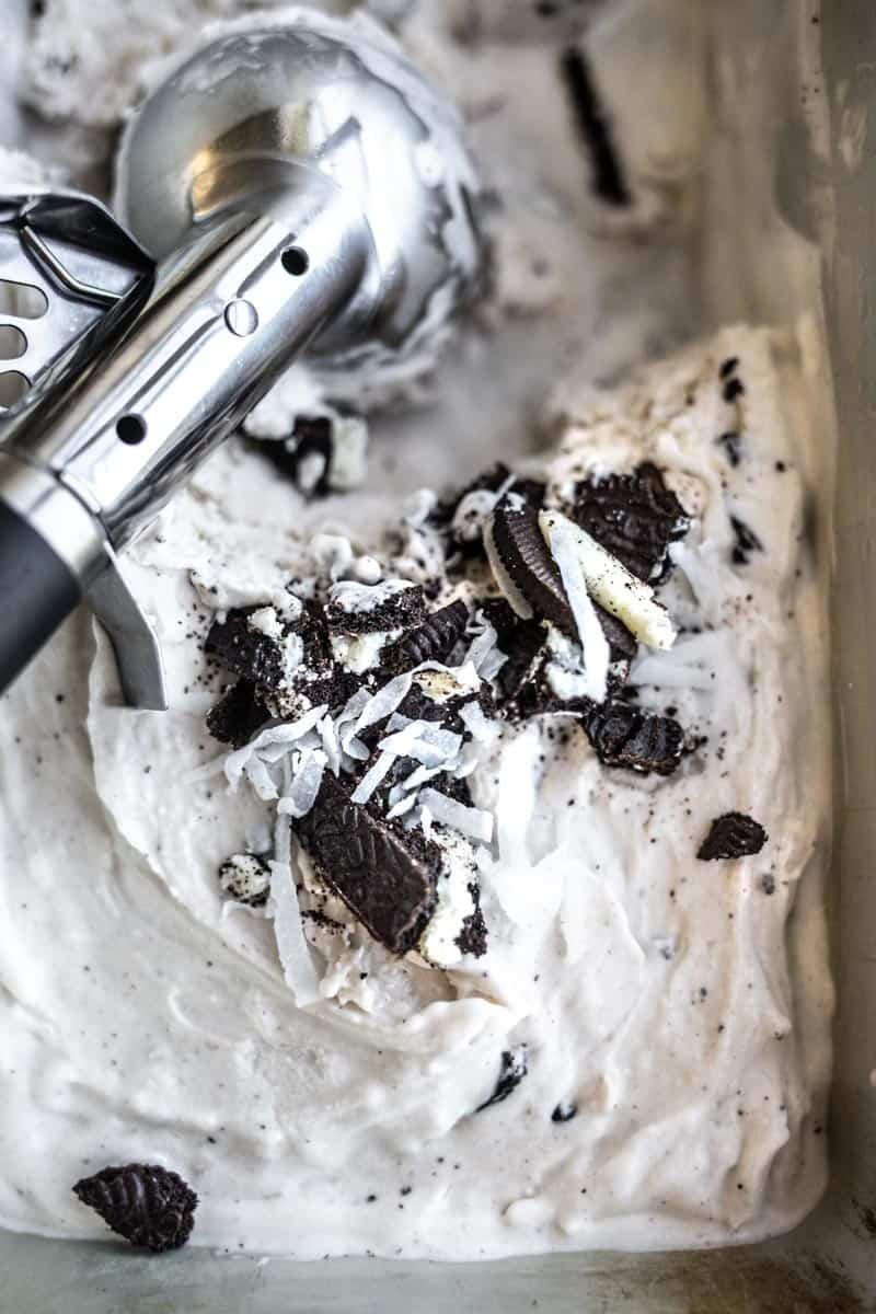 ice cream scoop with homemade coconut oreo ice cream