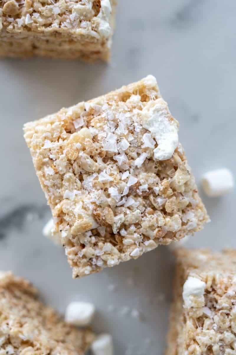 rice krispie treat with flaky sea salt