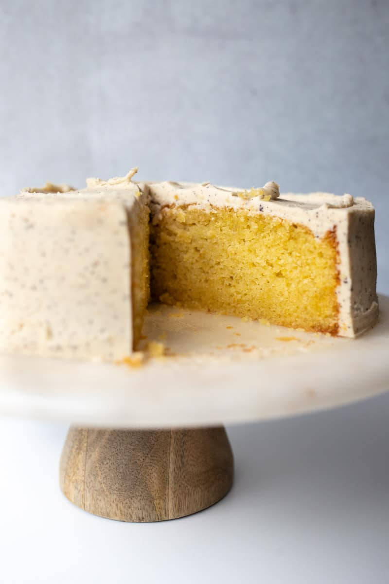 olive oil cake with slice cut out
