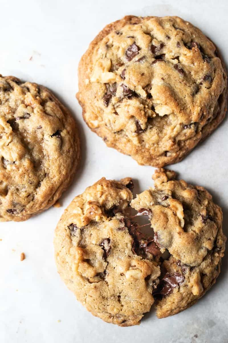 Cookie with melted chocolate chips