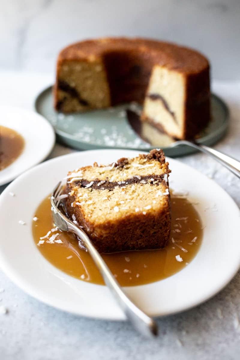 Coconut Coffee Cake with Homemade Caramel Sauce
